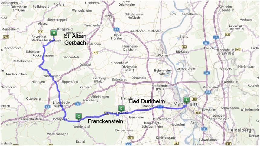 Current Map Of Germany.Christlieb Family Related Sights In And Around Bad Durkheim Germany
