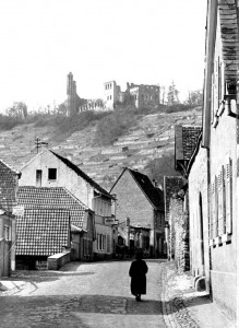 The Limburg Ruin can be seen on the hillside above the village of Grethen.
